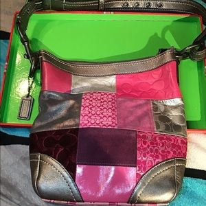 Coach Holiday Pink Silver Patchwork Gallery Purse